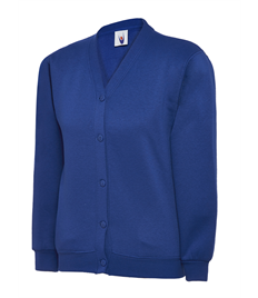 UC207 Royal Blue Cardigan embroidered with Jerry Clay Academy logo