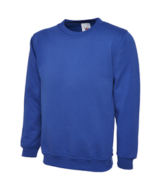 UC202 Royal Blue Crew Neck Sweatshirt embroidered with Jerry Clay Academy logo