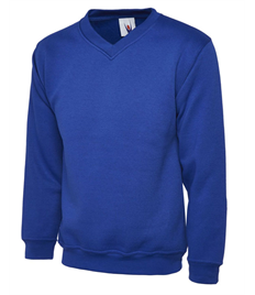 UC206 Royal Blue V Neck Sweatshirt embroidered with Jerry Clay Academy logo